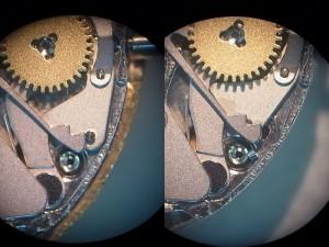 オシドリ、裏押さえ、拡大写真(新品、不良-折れたピンあり)